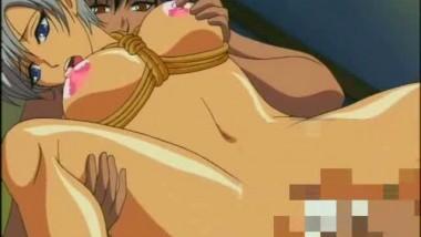 Tied up anime cutie getting jizzload