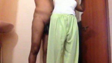 Telegu maid with her owner in bathroom