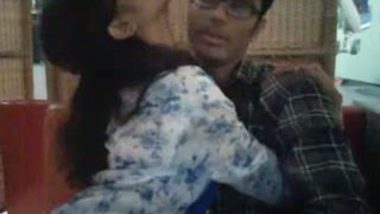 Bangladeshi college girl doing romance with lover in Restaurant