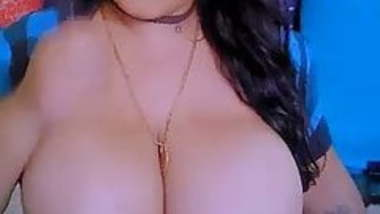 Indian busty beauty exposes huge tits and nipples in webcam