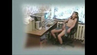 Hot Girl Masturbating While Watching Porn