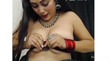 Indian girl doing fingering in public